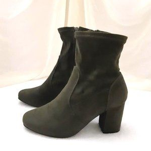 "REVAMPED Green Faux Suede Ankle Boots 3"" Heel Zips"
